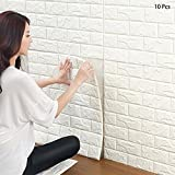 3D Brick Wallpaper, White Brick Pattern Wall Stickers, Self- Adhesive Wallpaper for Living Room Bedroom, 60 * 60CM by YTAT(10)