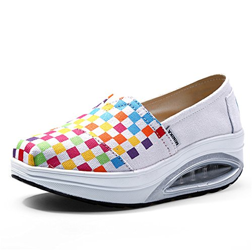 Women's Canvas Slip-On Platform Toning Shoes Crochet Fitness Work Out Sneaker Work Shoes Mother Shoes Casual Flat(White 40/9 B(M) US - Canvas Work Chart
