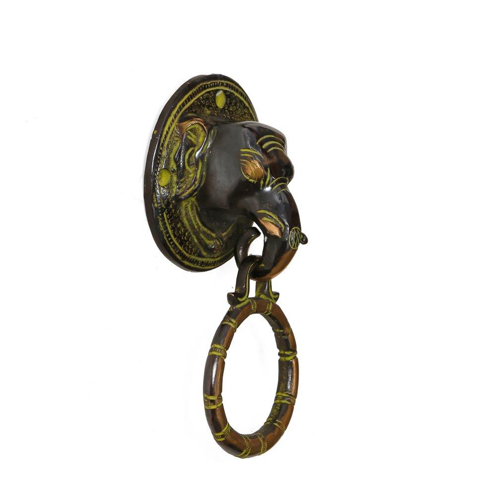 CraftVatika Antique Elephant Head Brass Door Knocker Door Handle Knob Home Decor