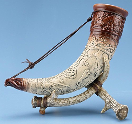 German Drinking Horn with Stand, Celtic Horn of Irish Myth-Heroes CuChulainn, Limited Edition by Thewalt