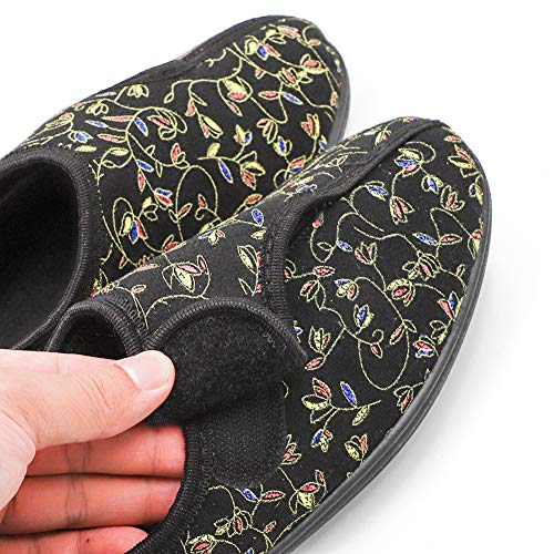 0897b3737fcd Ladies Diabetic Slippers Orthopedic Wide Fit Fully Adjustable Touch Close  Strap House Shoes for Women