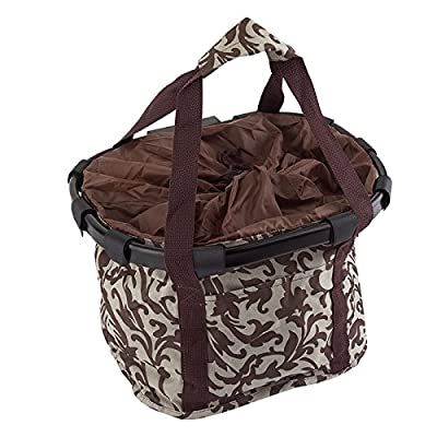 SUNLITE Canvas & Alloy QR Basket, Brown/White : Bike Baskets : Sports & Outdoors