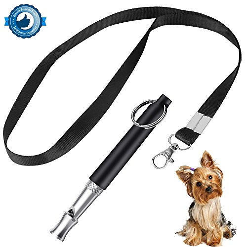 ONSON Dog Whistle to Stop Barking – Barking Control Ultrasonic Patrol Sound Repellent Repeller – Adjustable Pitch in Black Color with FREE Premium Quality Lanyard Strap (Dog Whistle)