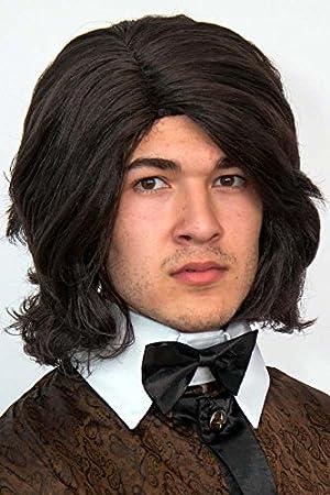 Paleta cantante de colour marrón oscuro de la peluca de la peluca para hombre 70er 80er