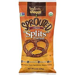 Unique Pretzels - Sprouted Splits Pretzels, Delicious Vegan Snack Pretzels Individual Pack, Large OU Kosher Pretzels, 8 Oz Bags (Pack Of 12)