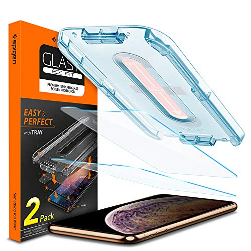 Spigen Tempered Glass Screen Protector [Installation Kit] Designed for iPhone Xs Max (2 Pack)