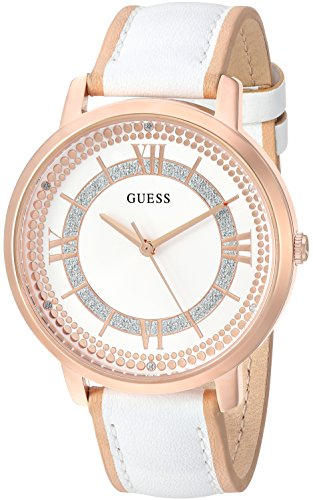 GUESS Women's Quartz Stainless Steel and Leather Casual Watch, Color:White (Model: U0934L1)