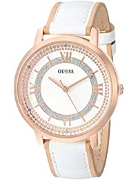 GUESS Women's Quartz Stainless Steel and Leather Casual Watch, Color:White