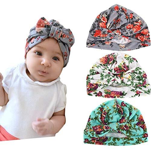 Xinshi Baby Hat Girls Soft Turban Toddler Rabbit Ears Set Head Cap (Rabbit Ears(3PCS))