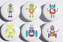 Robot Drawer Pulls / Ceramic Drawer Knobs, Set of 6