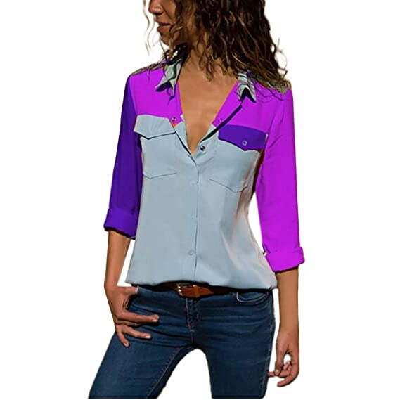 Manga Larga Casual para Mujer Blusa con Bolsillos de Bloque de Color Botón Camisetas Tops de Otoño ❤ Manadlian: Amazon.es: Ropa y accesorios