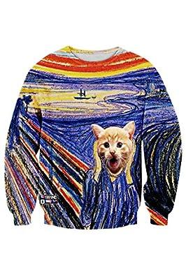 Cutiefox Digital Print Crew Neck Pullovers Sweater Sweatshirts