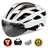 Shinmax Adults Bike Helmet, MTB Bike Helmet Men With Removable Shield Visor/Detachable Safty Rear Led Light Review