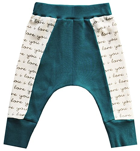 Cat & Dogma Certified Organic Baby Pants - I Love You/Teal (3-6 Months)
