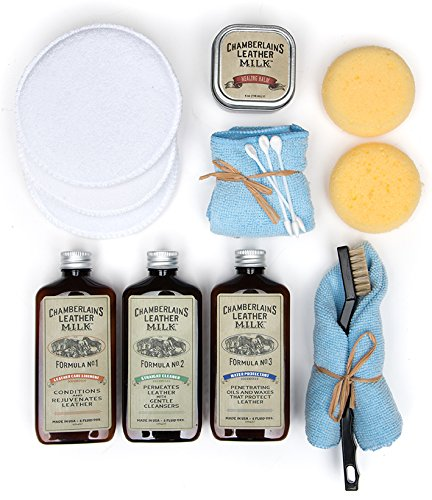 Leather Milk Leather Restoration Kit - Heal & Restore Antique Leather. Cleaner, Conditioner, Water Protectant, Healing Balm, Detailing Brushes, Pads, More! All-Natural. Made in USA by Chamberlain's Leather Milk (Image #2)