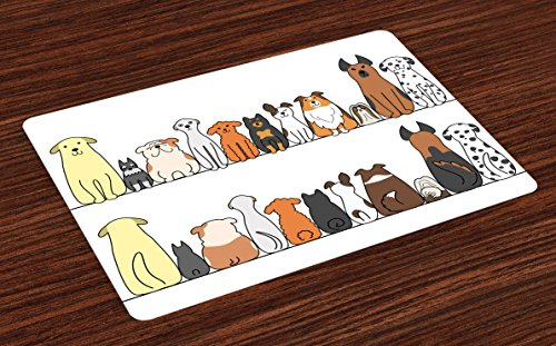 Ambesonne Dog Place Mats Set of 4, Multicultural Dog Family in a Row from Back and Front Views Companionship Comic Art, Washable Fabric Placemats for Dining Table, Standard Size, Yellow -