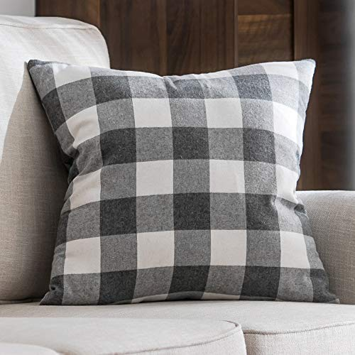 MIULEE Classic Retro Checkers Plaids Cotton Linen Soft Solid Grey and White Decorative Throw Pillow Covers Home Decor Design Cushion Case for Sofa Bedroom Car 24 x 24 Inch 60 x 60 cm