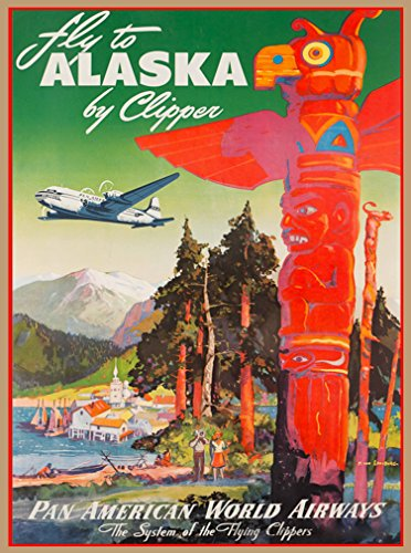 A SLICE IN TIME Fly to Alaska by Clipper Pan American World Airways Vintage United States Airline Travel Advertisement Art Poster Print. Measures 10 x 13.5 inches (Best Time To Fly To Alaska)