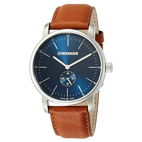 Wenger 01.1741.103 Men's Urban Classic Blue Dial Brown Leather Strap Swiss Watch