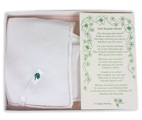White Linen Irish Keepsake Bonnet with Embroidered Shamrock in Gift Box ()