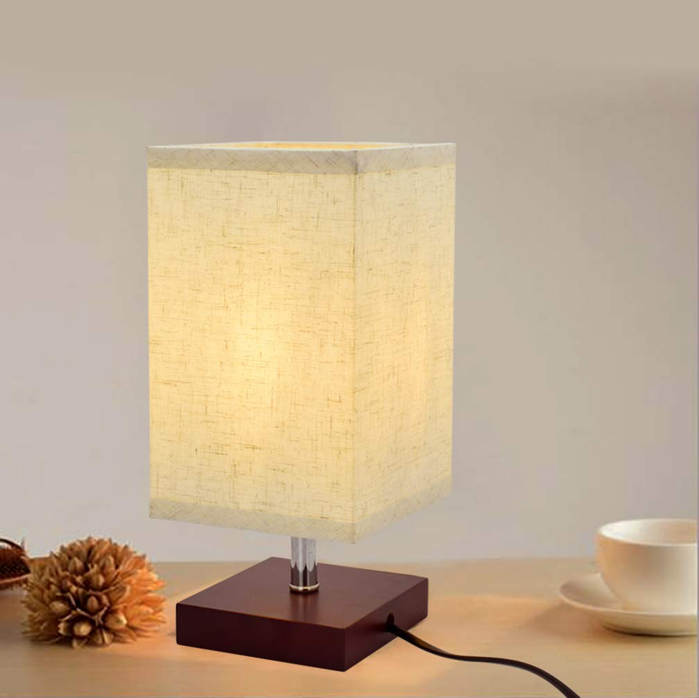 LED Modern Design Bedside Table Lamp, Minimalist Solid Wood Desk Lamp, Bedside Living Room Square Nightstand Light with Flaxen Fabric Shade is Perfect for Bedroom,Kids Room, College Dorm, Coffee Tabl