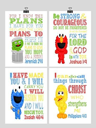 Sesame Street Inspirational Nursery Decor Art Print Set of 4 - Big Bird, Cookie Monster, Elmo and Oscar the -