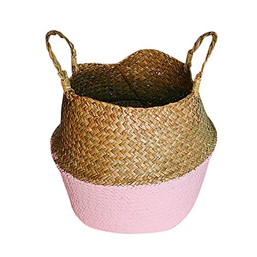 Weite Handmade Woven Seagrass Belly Storage Basket, [Large] Durable Plant Flower Pot Collapsible Nursery Laundry Tote Bag with Handles [27CM] (Pink)