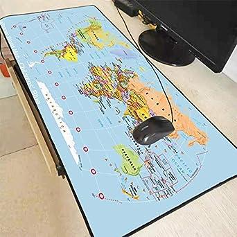 Alfombrilla de Ratón Extra Grande Mapa del Mundo Azul Alfombrilla para Juegos Alfombrilla de Goma Antideslizante para Juegos con Borde de Bloqueo 300X800X2Mm