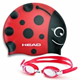 Mares Kinder Badekappe und Schwimmbrille Goggle Meteor Character, Rot, One size, 451020