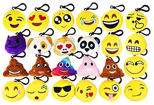 Emoji Keychain Emoji Mini Pop Plush Pillows Emoticon Pillow Keychain Car Cute Key Ring Pendant Keychain Decorations Kids Party Supplies Favors,2