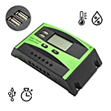Griarrac 30A Solar Charge Controller PWM Solar Panel Intelligent Battery Regulator 12V 24V Auto Switch Dual USB LCD Display