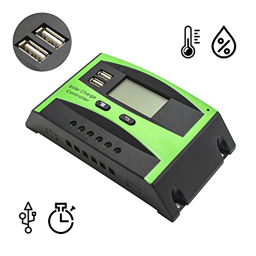 Griarrac 30A Solar Charge Controller PWM Solar Panel Intelligent Battery Regulator 12V 24V Auto Switch Dual USB LCD Display by Griarrac