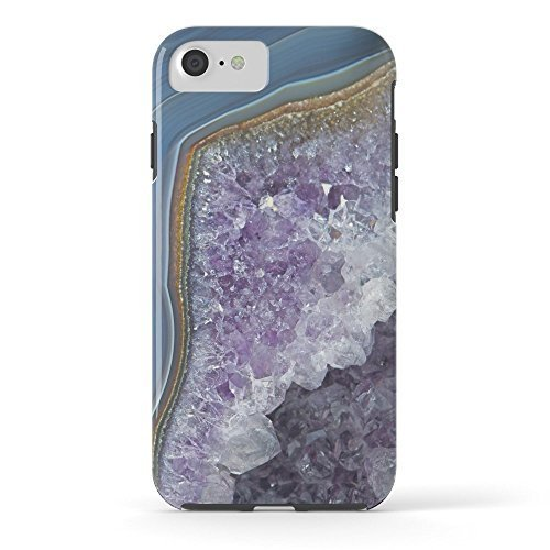 Phone Case Protective Durable Waterproof Design Cell Case Amethyst Geode Agate Tough Case for iPhone 6 6s with Tempered Glass Screen Protector