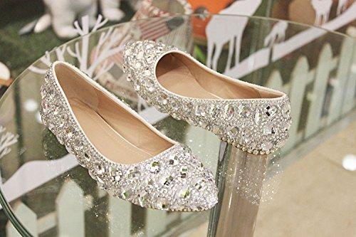 JINGXINSTORE Bling Schuhe Silver Crystal Hochzeit Schuhe Bling Braut Pumpe Weiß 1bfbc5