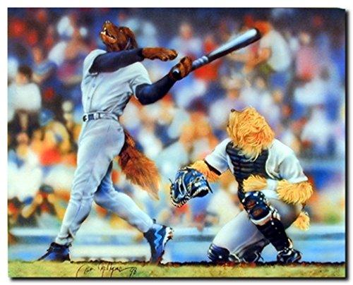 Dog Playing Baseball Funny Kids Room Wall Decor Picture Art Print Poster (16×20)