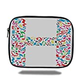 Laptop Sleeve Case,Letter H,Communication Tool Writing Language Element H Designed in Musical Notes Print Decorative,Multicolor,iPad Bag