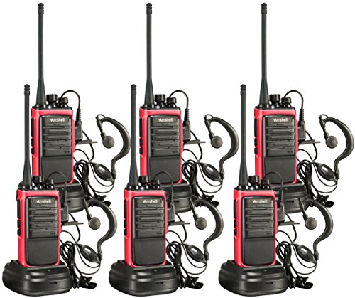 Earpiece Set - Arcshell Rechargeable Long Range Two-Way Radios with Earpiece 6 Pack Walkie Talkies UHF 400-470Mhz Li-ion Battery and Charger Included