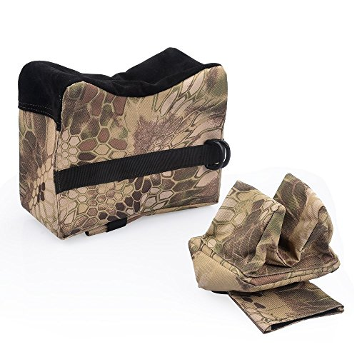 Wildmarely Rifle Shooting Bag, Front & Rear Bags Sandbags for Deadshot AR15 (Unfilled) (Snakeskin Camouflage)
