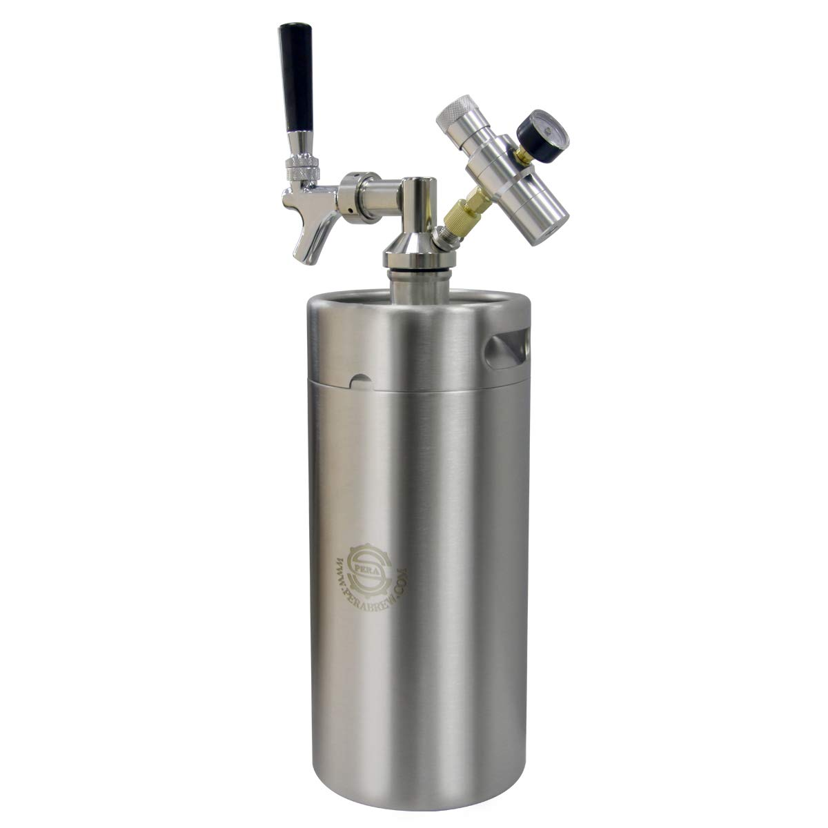PERA Beer Mini Kegs 128 OZ for Craft beer Dispenser CO2 regulator with beer faucet taps