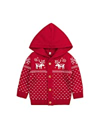 F.G.Y Unisex Baby Cotton Knitted Cardigan Sweater with Hood, Toddler Christmas Deer Long Sleeve Cardigan Coat