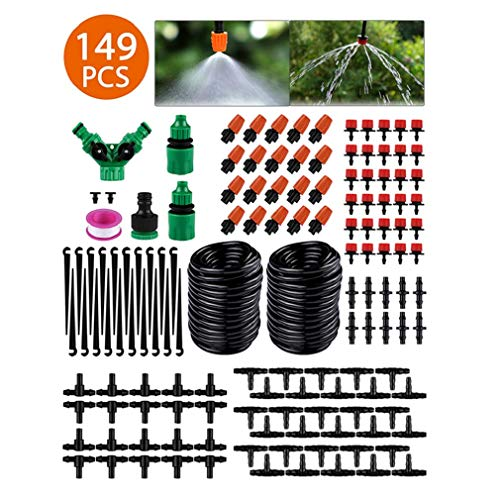 Xoolover Irrigation Kit 149PCS Micro Watering Systems Plants Drip Irrigation Greenhouse Sprinkler for Garden Humidification Lawn Outdoors Atomization Cooling-30M