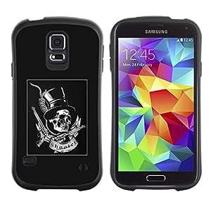 Be-Star Impreso Colorido Diseño Antichoque Caso Del Iface Primera Clase Tpu Carcasa Funda Case Cubierta Par Samsung Galaxy S5 SM-G900 ( grey top hat guns rock roll metal )