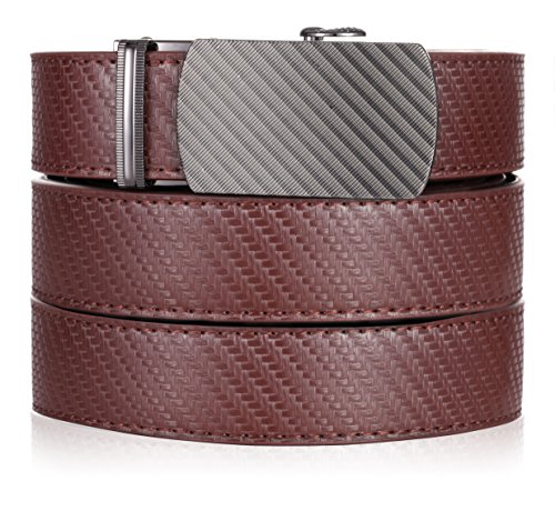 Marino Ratchet Leather Dress Belt For Men - Adjustable Click Belt with Automatic Sliding Buckle - brown -Adjustable from 28'' to 44'' Waist by Marino Avenue