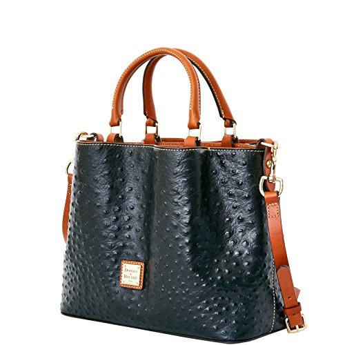 Dooney & Bourke MINI Barlow Ostrich satchel xbody Black
