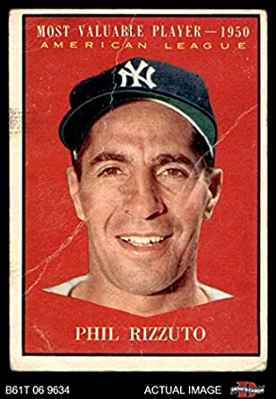 Amazoncom 1961 Topps 471 Most Valuable Player Phil Rizzuto New