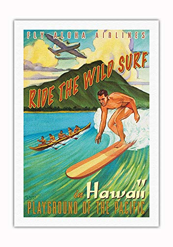 Pacifica Island Art - Ride The Wild Surf in Hawaii - Playground The Pacific - Fly Aloha Airlines - Vintage Hawaiian Travel Poster Rick Sharp - Fine Art Rolled Canvas Print - 27in x 40in