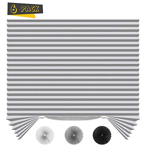 SEEYE Light Filtering Temporary Blinds Cordless Shades Fabric Pleated Fabric Shade Easy to Cut and Install, 36″ W x 72″ L – 6 Pack, Grey,with 12 Clips