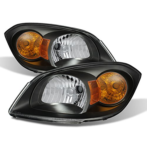 ACANII - For 2005-2010 Cobalt 2007-10 Pontiac G5 05-2006 Pursuit [Black] Headlights HeadLamps Driver + Passenger Side