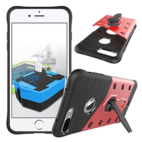 Meimeiwu Stilvolle TPU 2-Schicht-Schutz Durable Fall-Abdeckung mit Kickstand für Iphone 7 Plus,Rot