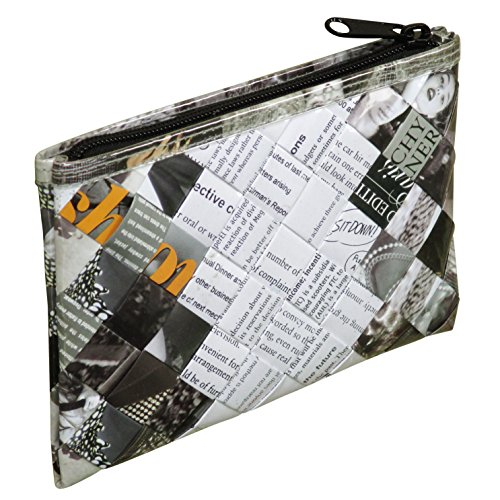 Small wristlet made of magazine paper - FREE SHIPPING - recycled zipper clutch pouch Fair trade ethical fun present presents inspiring alternative ideas functional beautiful products black and white (Vinyl Recycled Pouch)